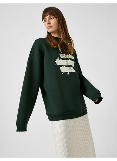 Koton Pamuklu Slogan Sweatshirt Yeşil